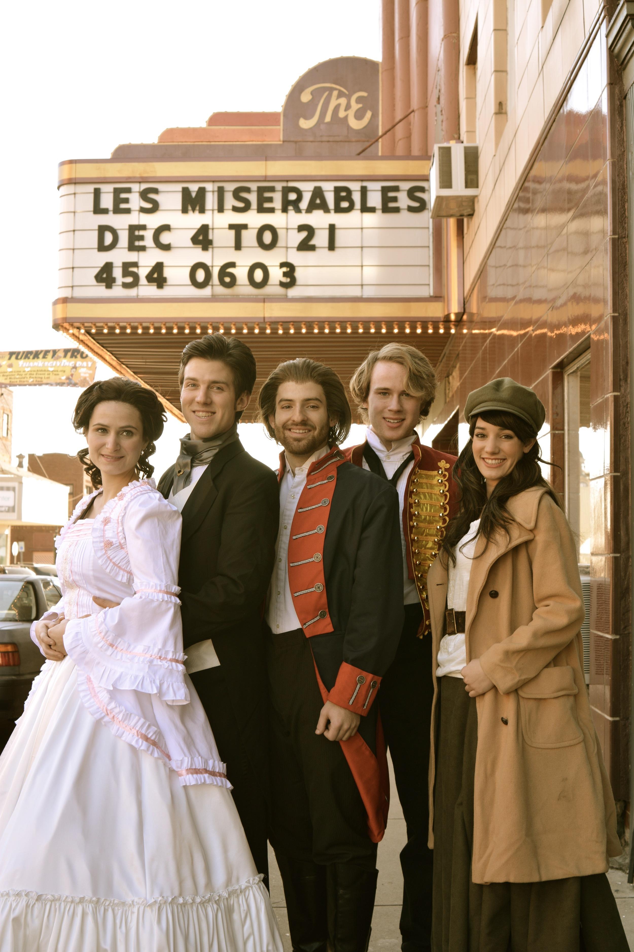 Left to Right - Rebecca Rosky as Cosette, Ethan Carpenter as Marius, Landon Sholar as Jean Valjean, Charlie Tingen as Enjolras, Brooke Quintana as Eponine.