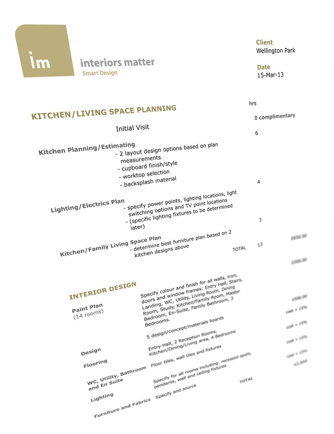 Project Estimate | www.interiorsmatter.com