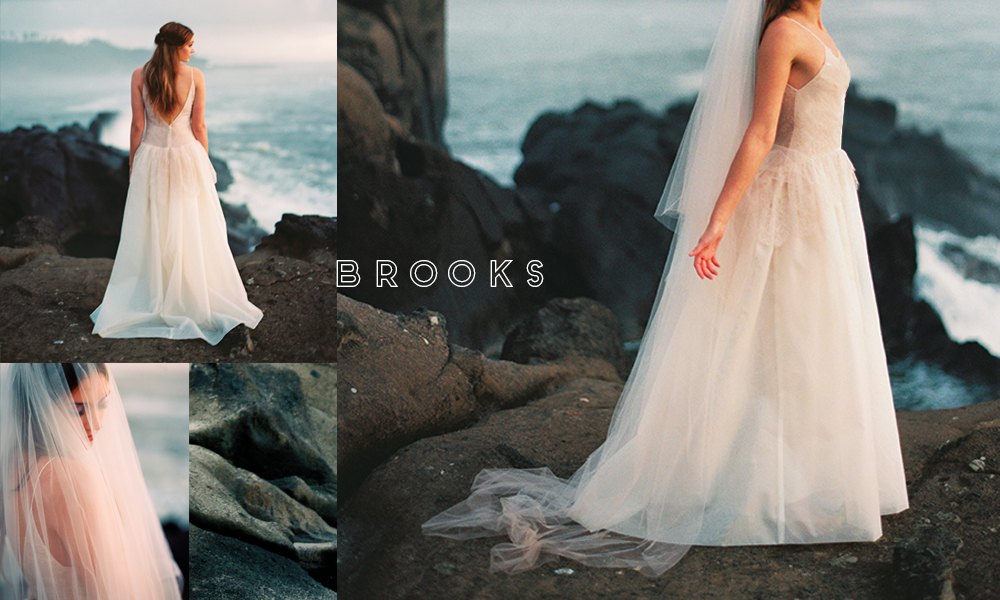 Unquestionably feminine, with a sheer overlay and lace details to add texture galore. Brooks is definitely a new favorite.