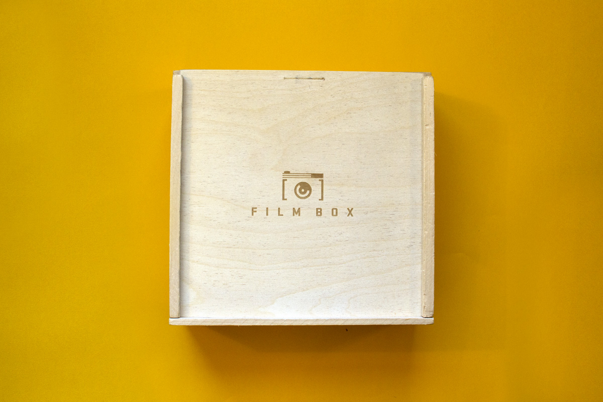 film box logo laser etched into wood box crate