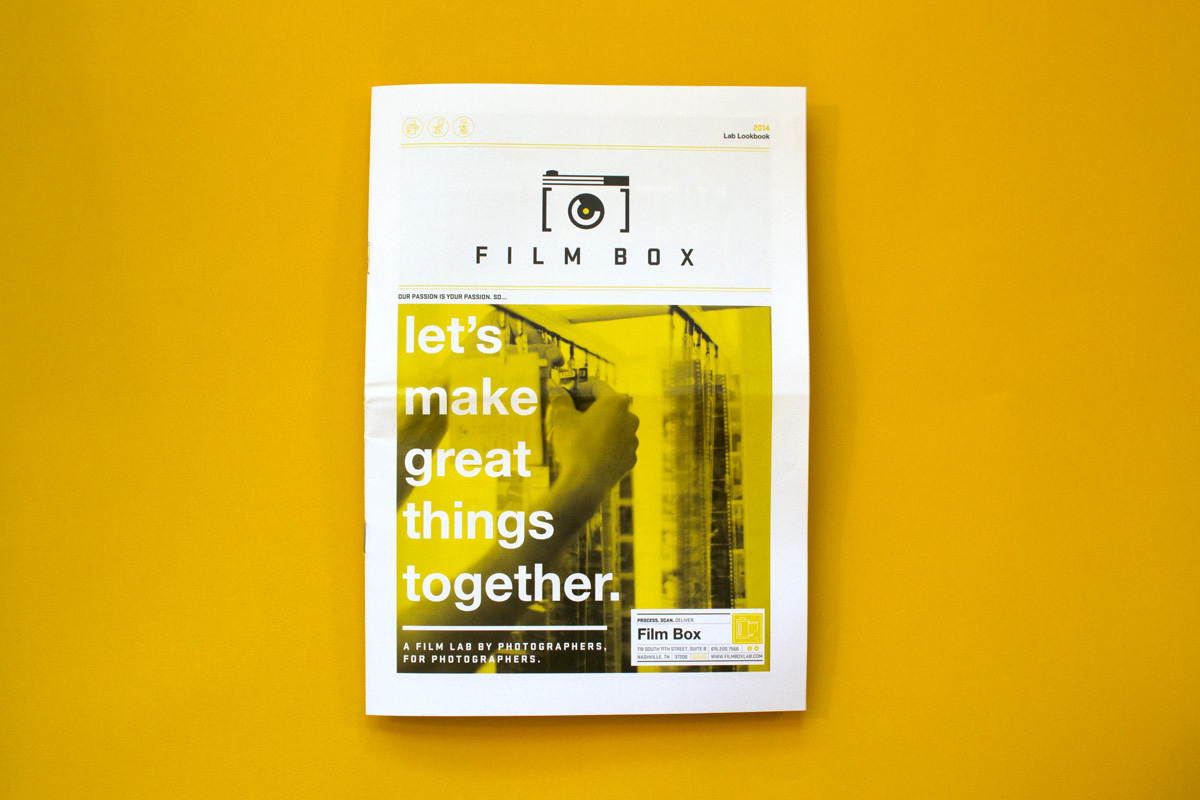 """Editorial graphic design for the cover of the custom newspaper for Film Box, with the headline reading """"Let's make great things together."""" The subhead reads """"A film lab by photographers, for photographers."""""""