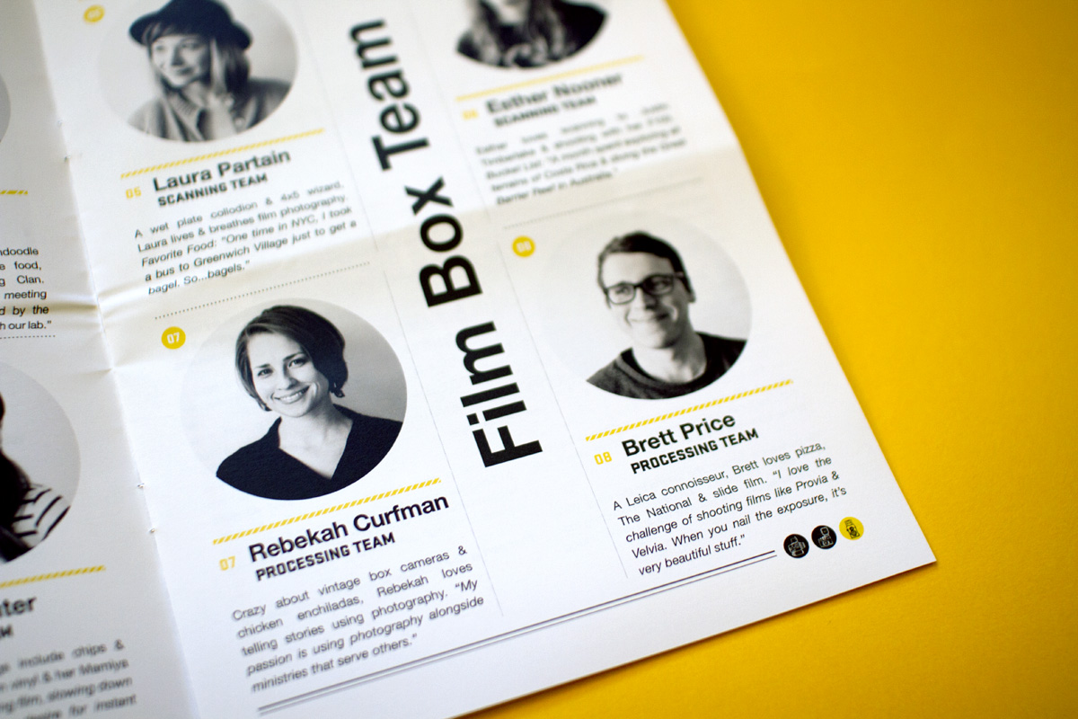 Editorial layout design for Film Box's team biography and profiles spread in the custom newspaper.