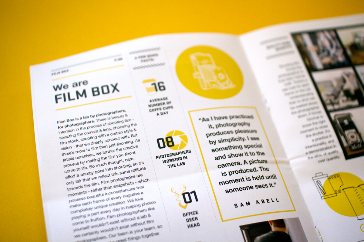 Editorial design of the About Film Box spread that introduces you to the company in the mini newspaper.