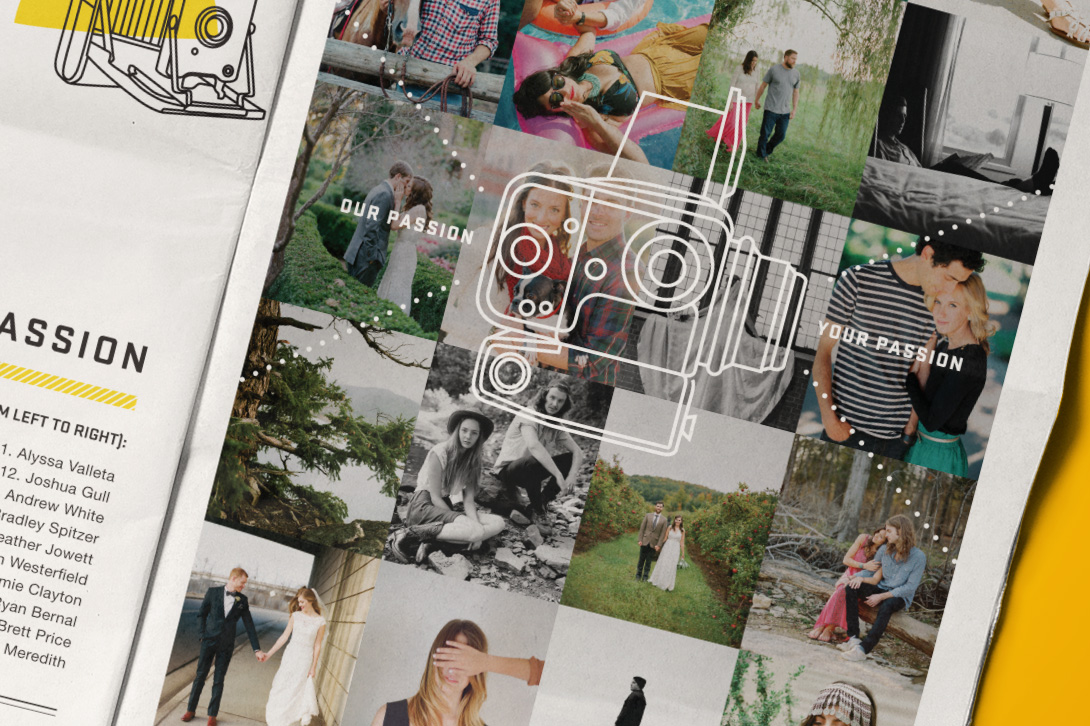 """Old camera icon illustration """"Our Passion is Your Passion"""" overlays a grid of film photography in this spread of the Film Box newspaper design."""
