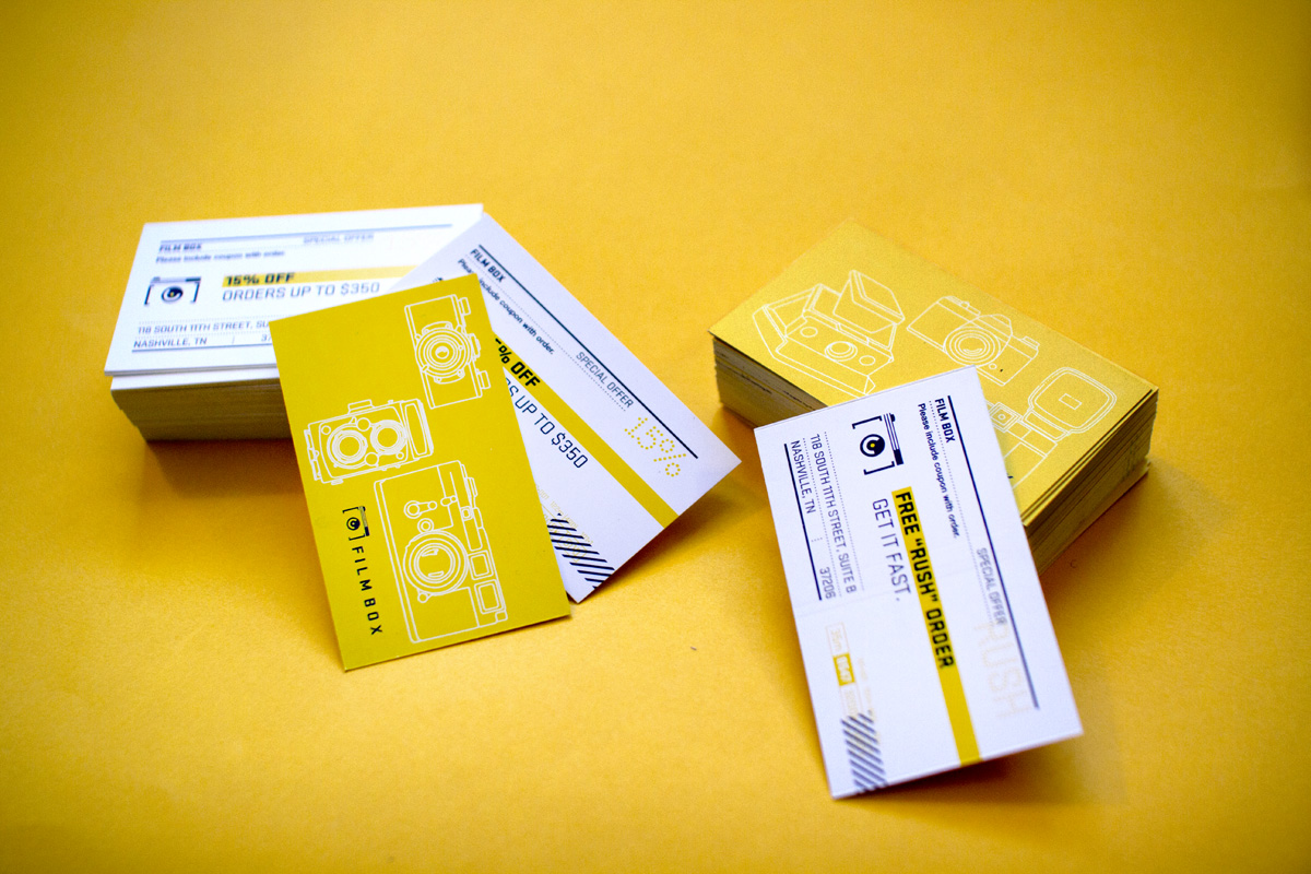 Film Box promotional coupon card designs. Elements of the graphics are inspired by kodak and polaroid film canisters.