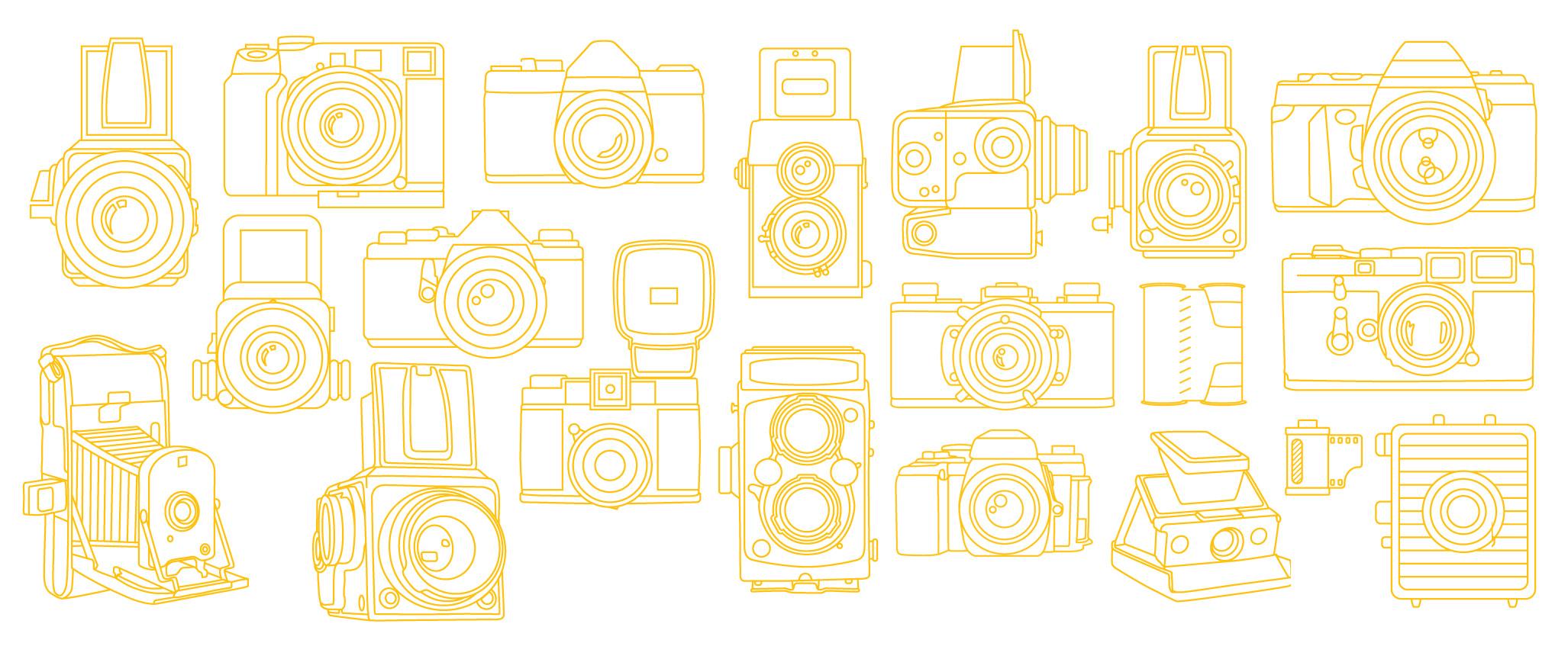 Mono width, single line width, line art camera illustrations of old film cameras such as single lens reflex, canisters, polaroids, rolleiflex, hasselblad, pentax, minolta, medium format, leica, lomo diana and more.