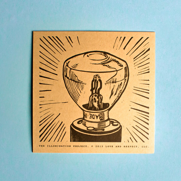 The back of each kraft dvd sleeve in The Illumination Project features a stamped woodcut illustration of a different type of light source or lightbulb.