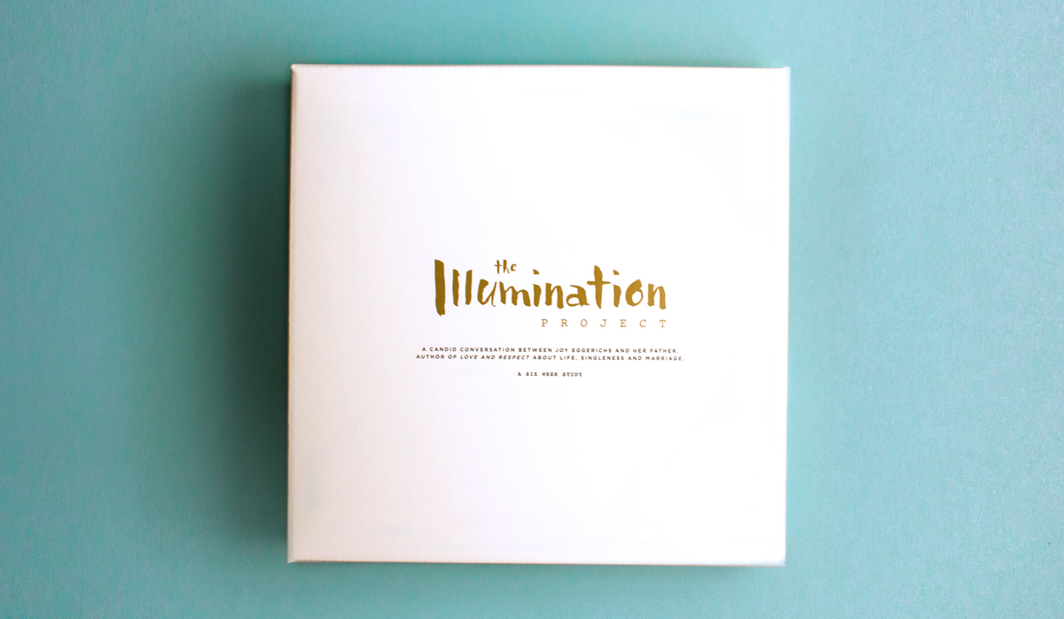 The Illumination Project white box packaging design with the logo printed in metallic gold pantone.