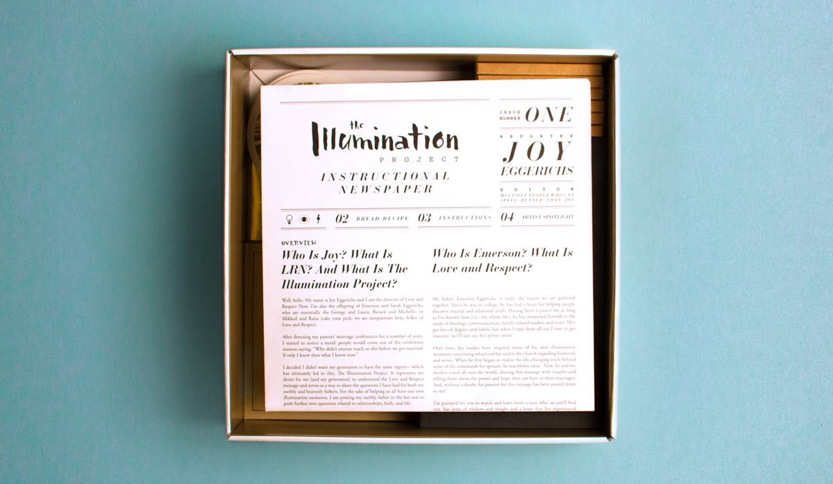 Opening of the Illumination Project box kit shows a custom newspaper brochure on top of the collateral.