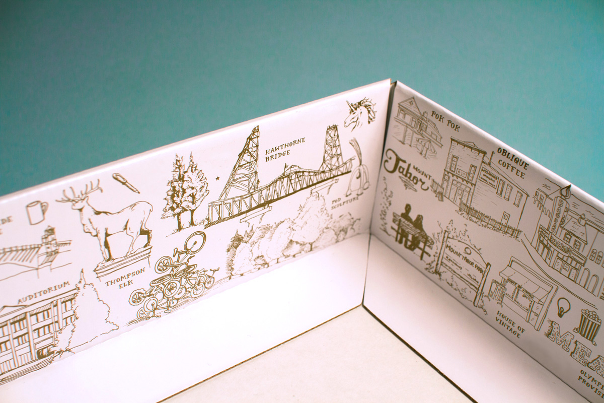 Simple pen and ink hand drawn illustrations of Portland Oregon places and things on the inside of the Illumination Project packaging design.