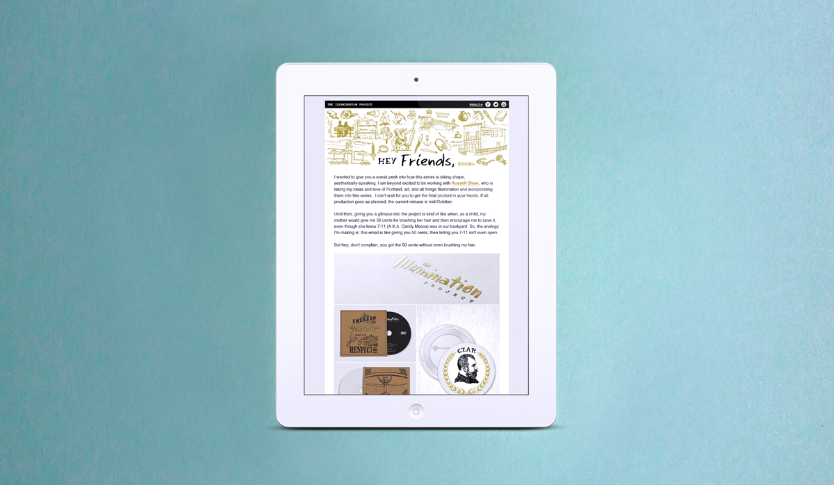The Illumination Project email newsletter campaigns shown on an iPad.
