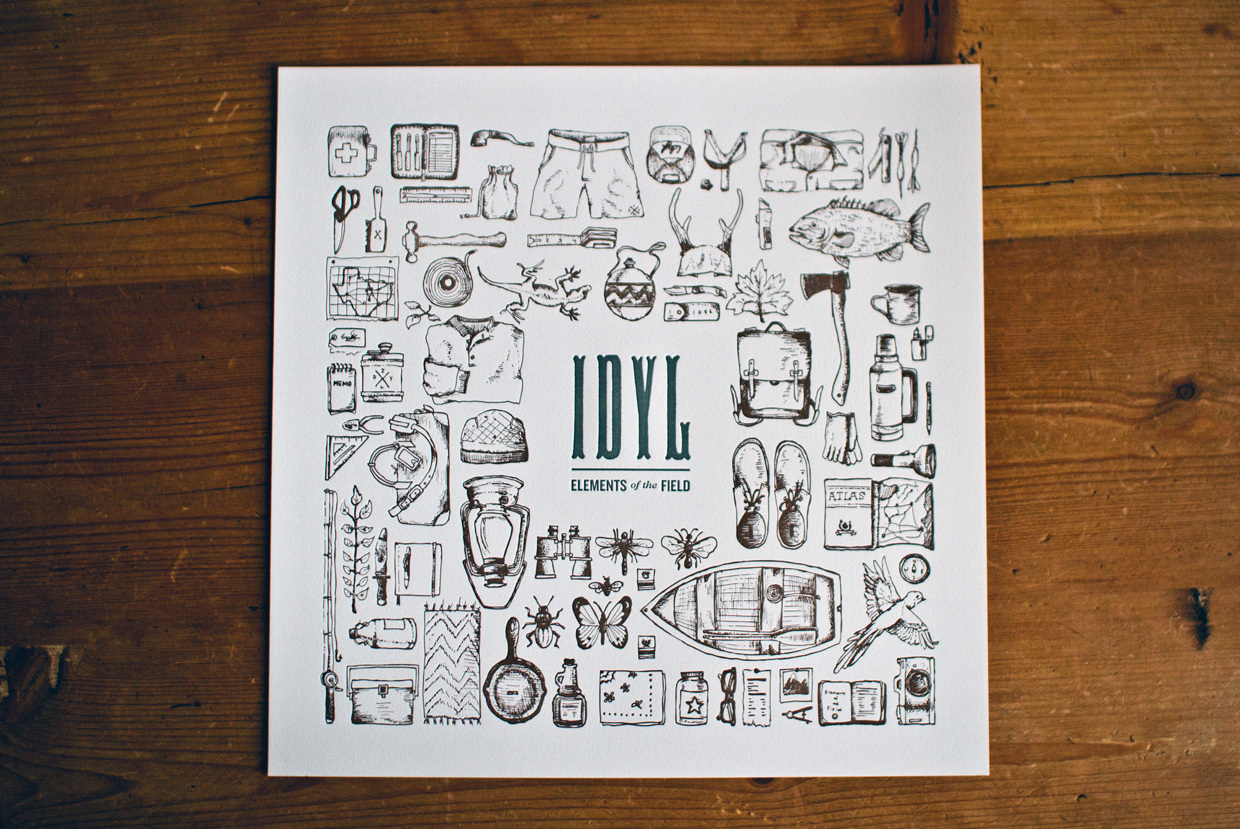illustration letterpress commemorate print for idyl