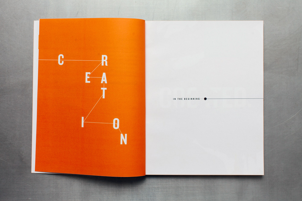 Create arts curriculum story of creation, in the beginning, editorial graphic design for the book.