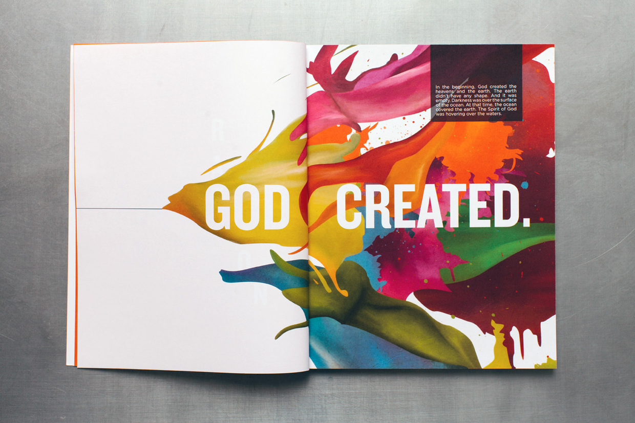 In the beginning, God created, editorial spread with colorful paint explosion illustration for the creation story in Create an arts curriculum for kids.