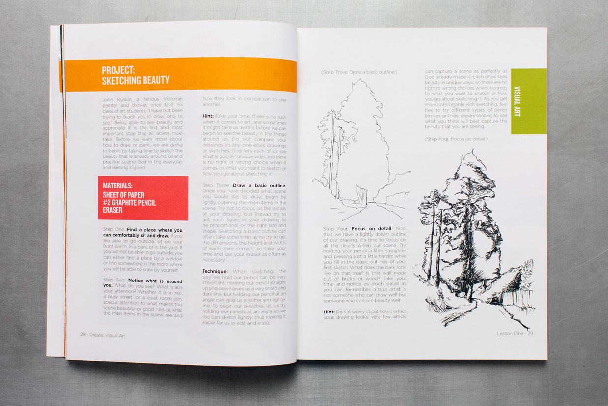 Art curriculum book project on sketching for children in Create an arts education program for kids. Editorial design of the publication.