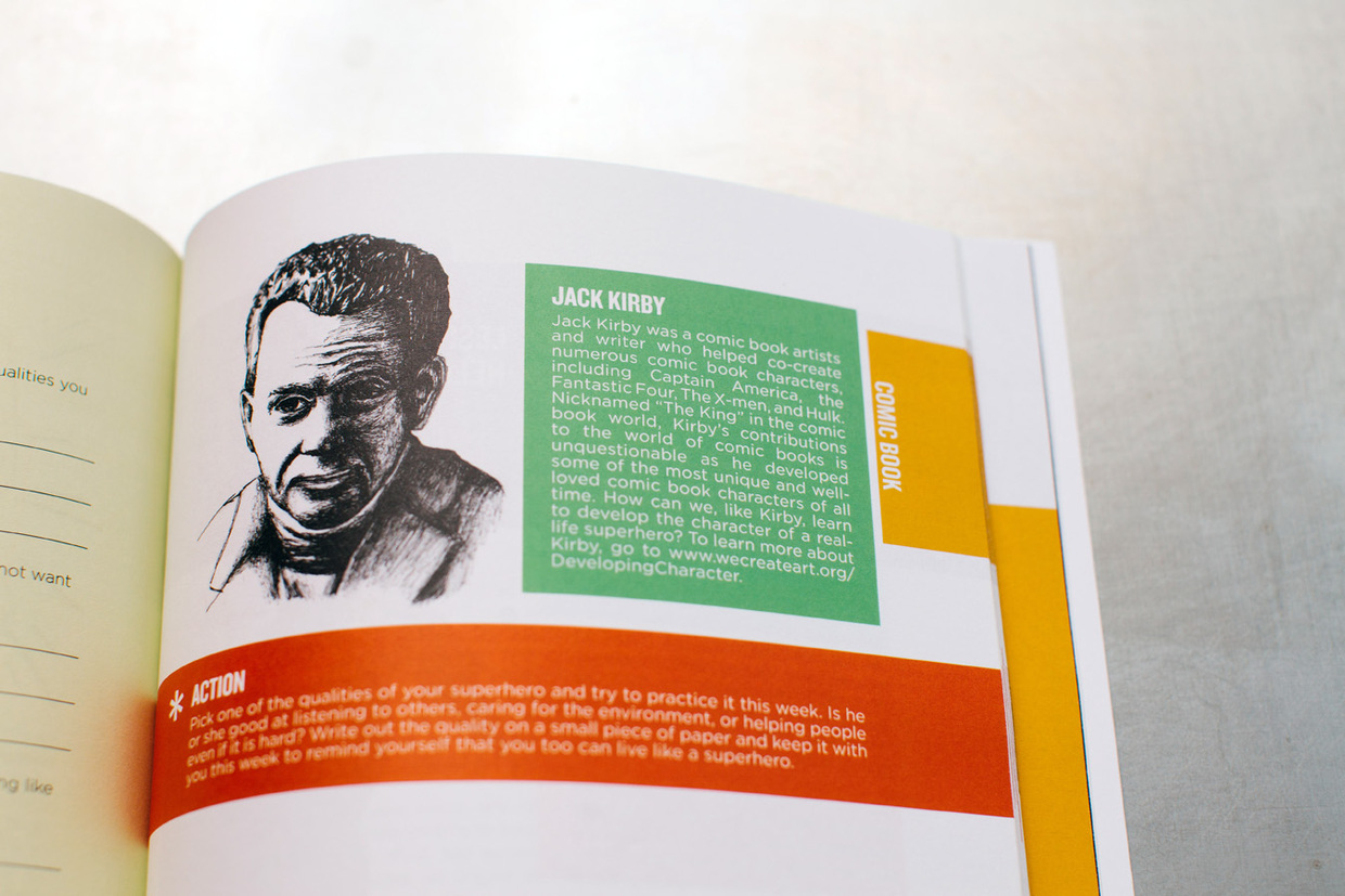 Jack Kirby artist portrait in a hand drawn pen and ink illustration accompanying the profile and biography in the comic book chapter of the kids' art curriculum book.