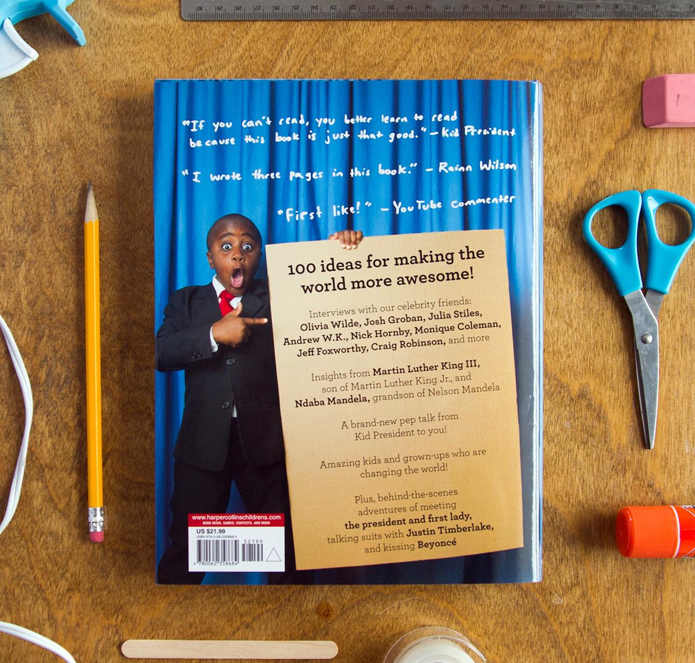 Back cover design of dust jacket for kid president book
