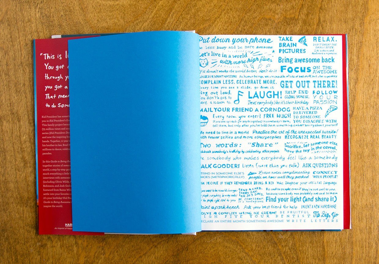 Front of end page for kid president's guide to being awesome with hand lettered titles in blue ink.