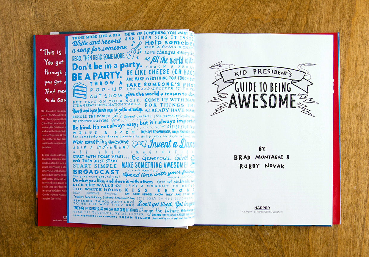 Back of end page for kid president's guide to being awesome with hand lettering and hand drawn illustration of chapter heads.