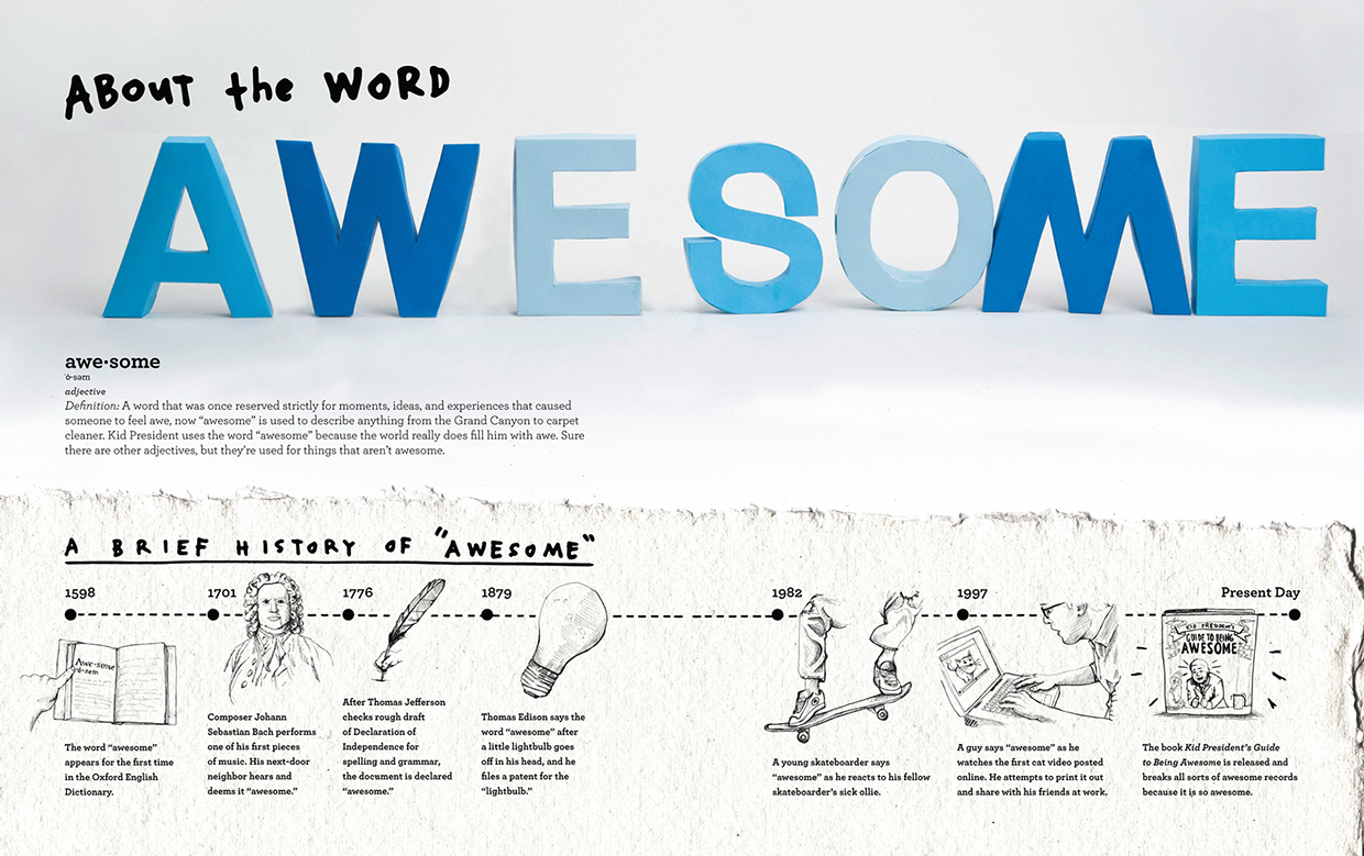 """Three dimensional (3D) paper craft cut out letters """"awesome,"""" and a brief history of awesome hand drawn illustrated timeline by russell shaw for kid president's book."""