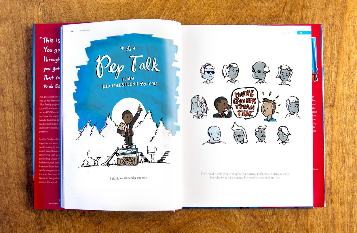 Colorful, children's story book style illustrations in charcoal, for Kid President's Pep talk.