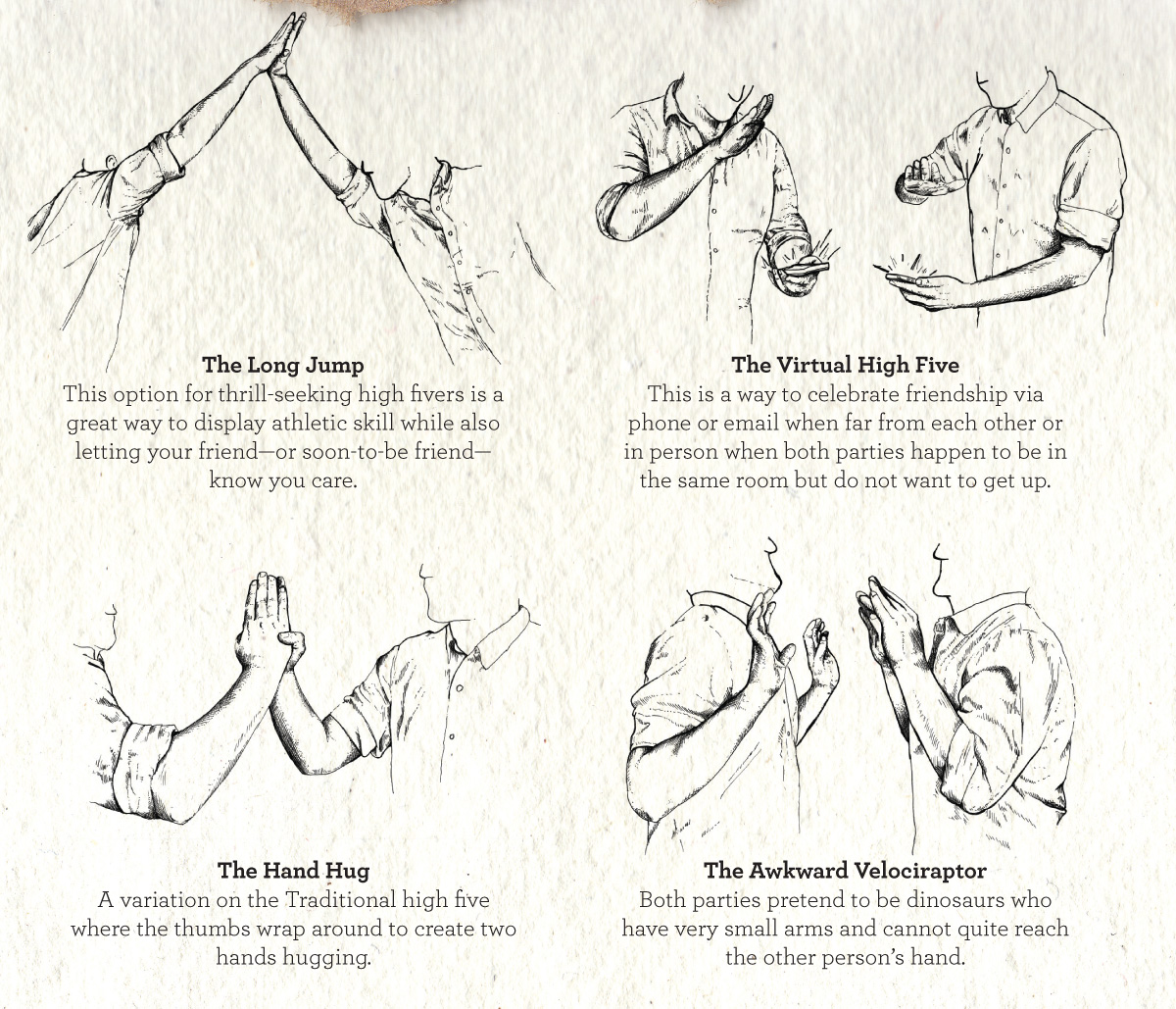 """""""The long jump,"""" """"the virtual high five,"""" """"the hand hug,"""" and """"the awkward velociraptor"""" hand drawn illustrated guide to high fives kid president book"""