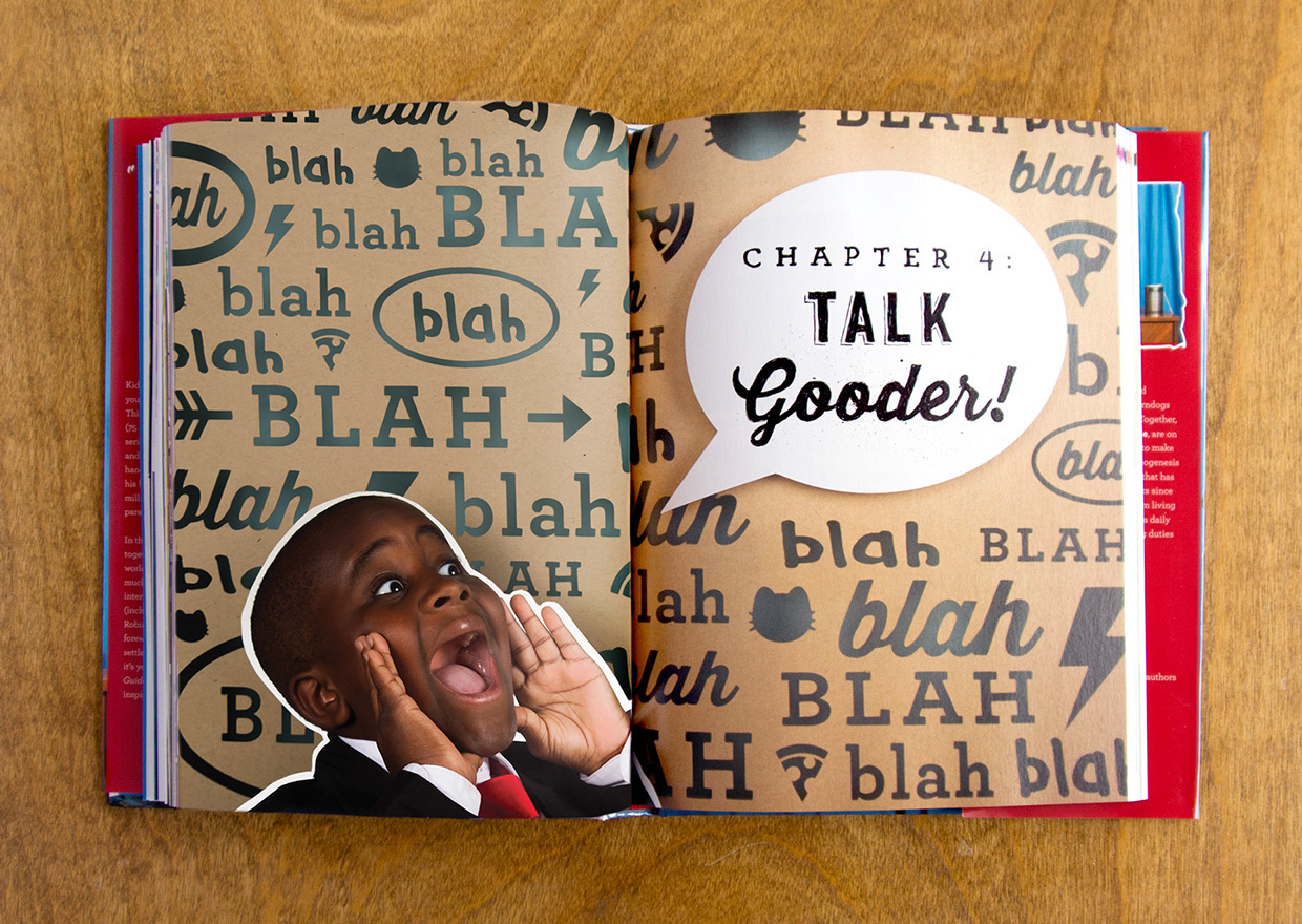 Blah blah blah Chapter Four: Talk Gooder chapter header and divider cardboard cut out and hand lettering