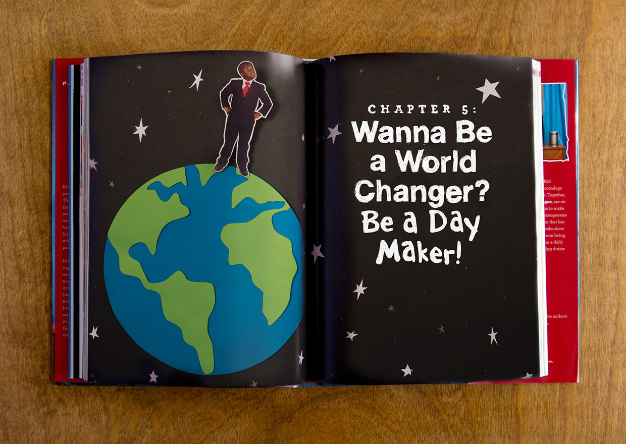 """paper cut and craft set of kid president standing on the earth in outer space stars, title of the chapter divider and section header for the book, """"Wanna be a world changer? Be a day maker!"""""""