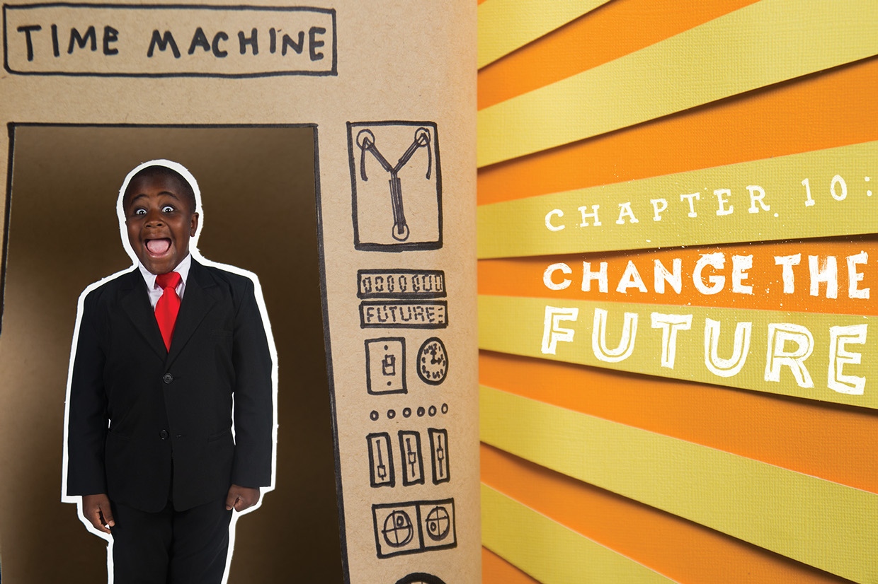 time machine made out of paper, for chapter ten Change the Future of Kid President book, starburst in background.