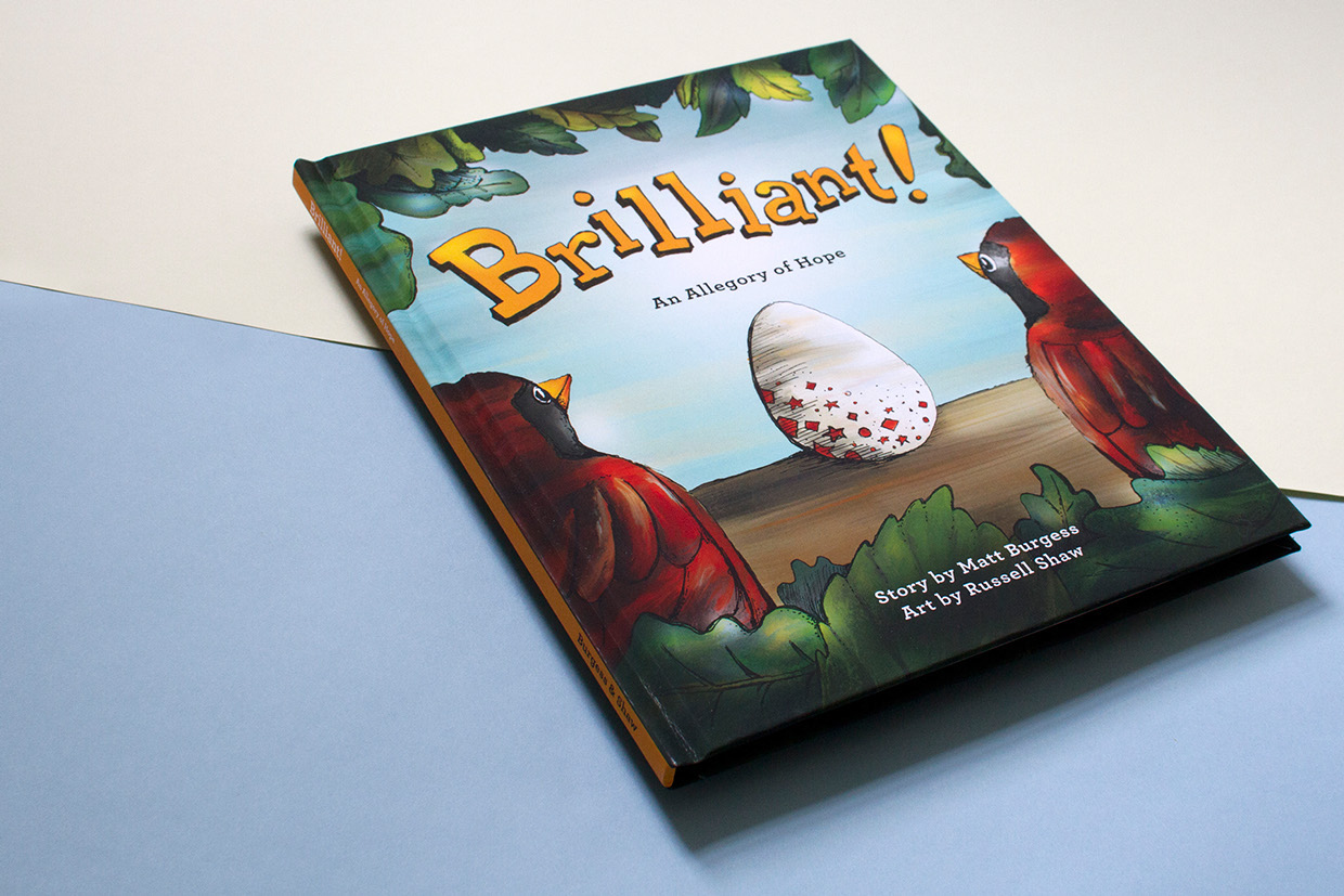 Cover graphic design and artwork for the children's book about adoption, story by Matt Burgess and art by Russell Shaw.