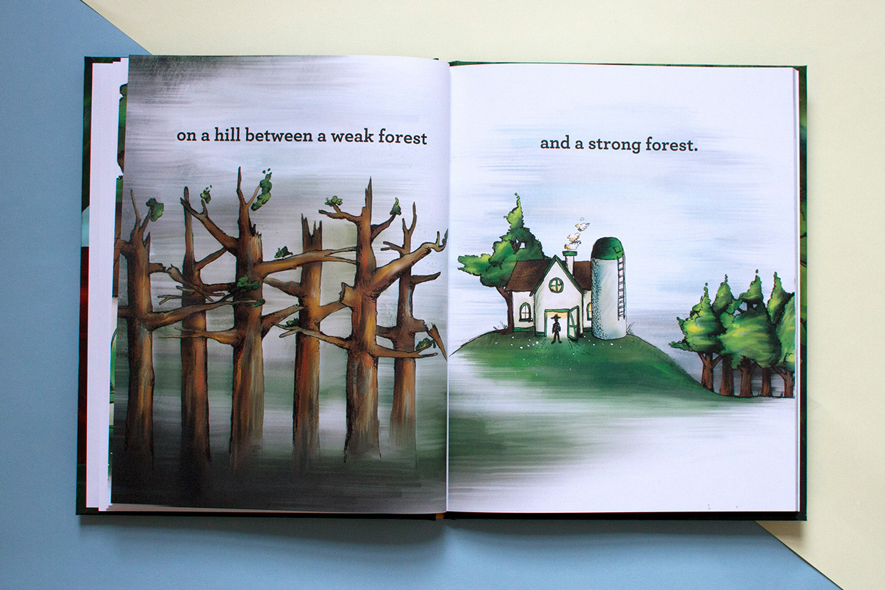 Children's book about adoption shows full color hand drawn illustrations of a dark forest and a farmer in a barn with a silo.