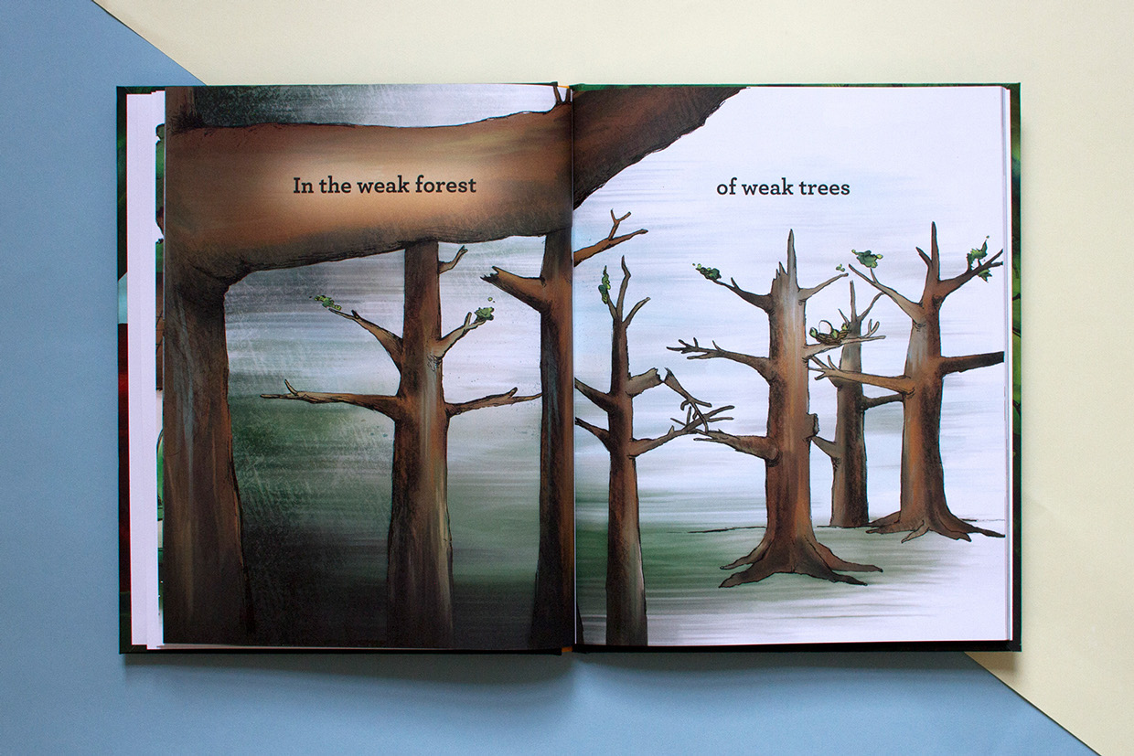 Children's book illustration of dead trees and a dark forest.