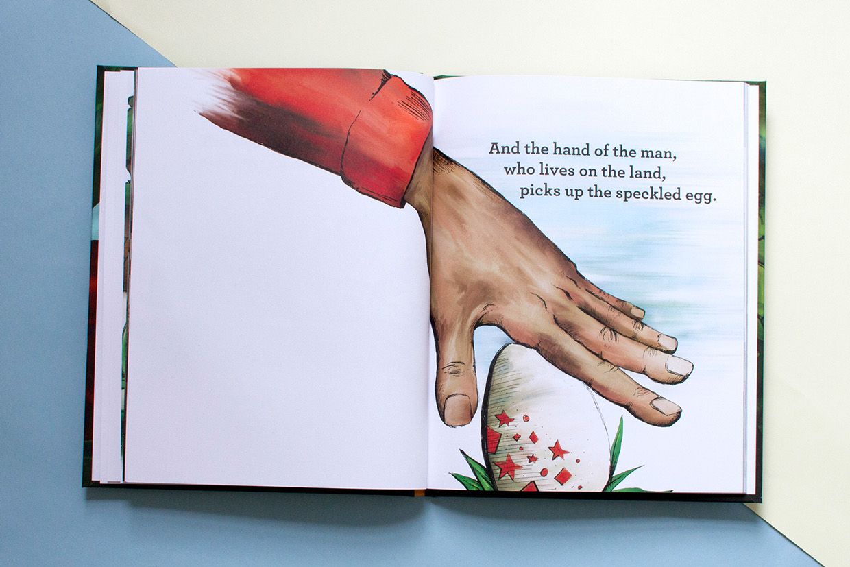 The hand of the farmer picks up the speckled egg in the hand drawn illustrated full color artwork of Brilliant! a children's book about adoption.