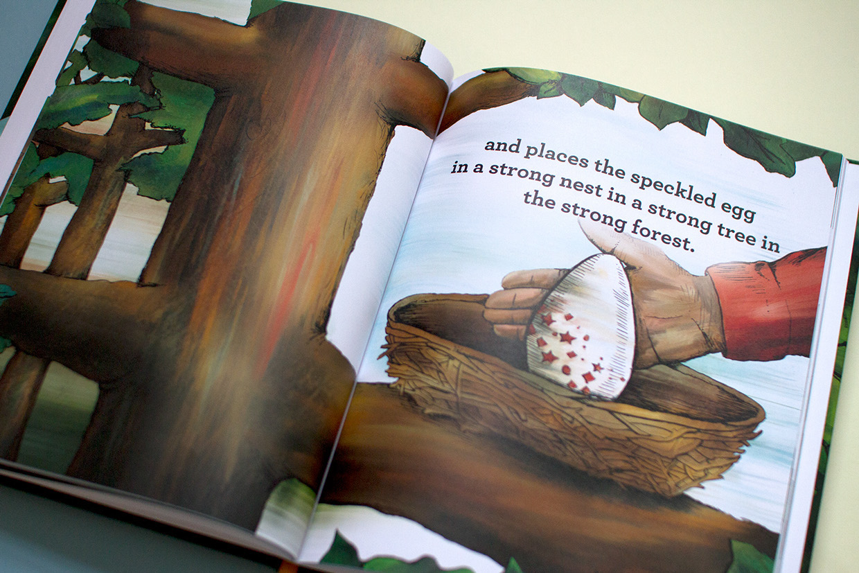 The farmer's hand places the speckled egg in a strong and full nest in a strong tree in a lush and beautiful forest in the children's book artwork.