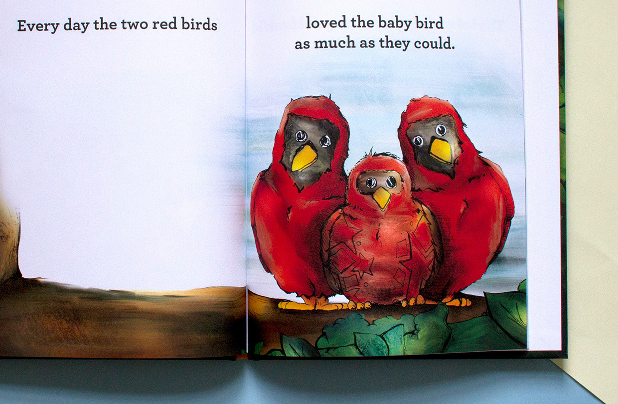 Children's book illustration for Brilliant! shows the two red birds loving the speckled baby bird as much as they could.