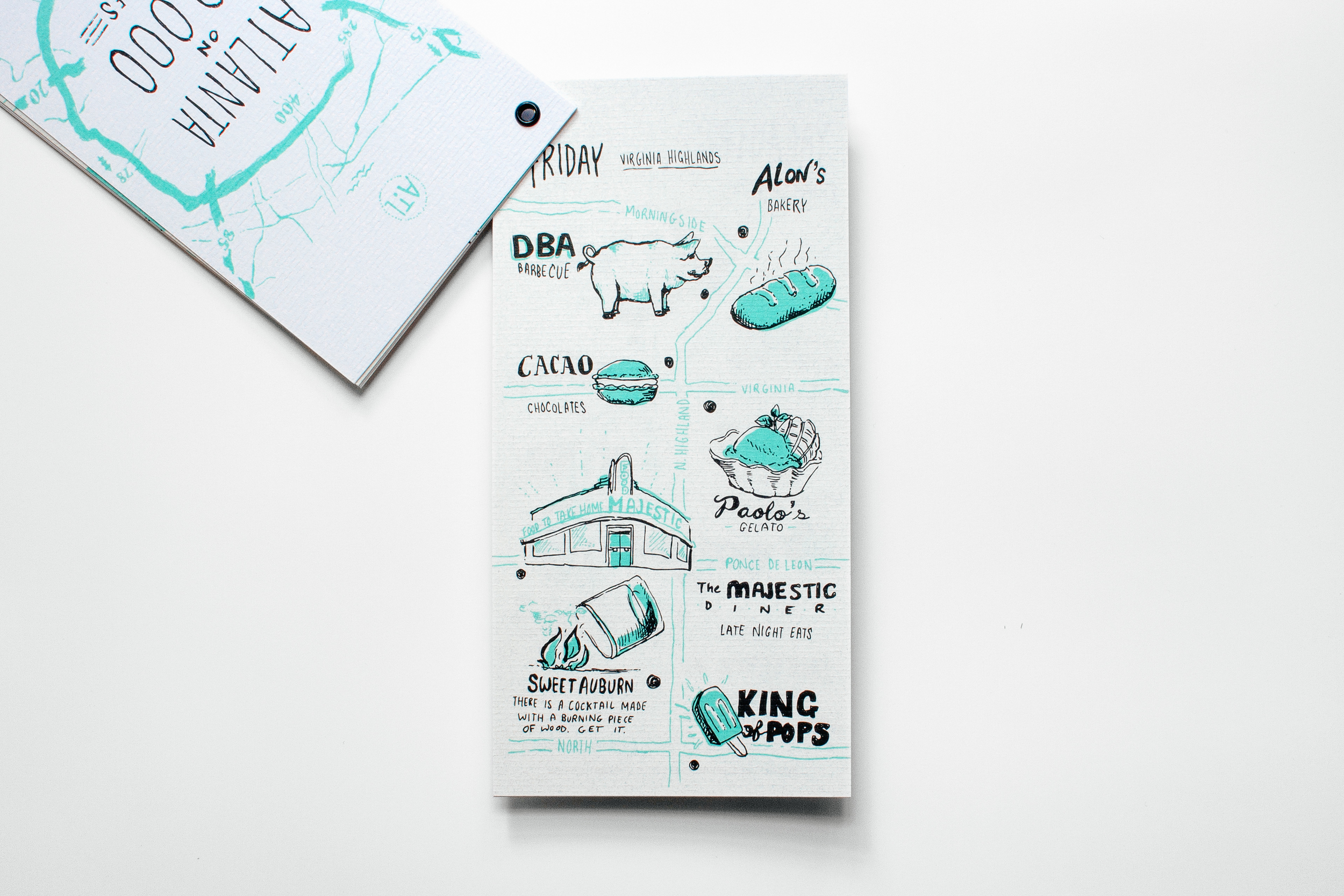 Hand drawing and hand lettering on an illustrated map of Virginia Highlands neighborhood of Atlanta mapping the restaurants DBA Barbecue, Alon's bakery, cacao chocolate, paolo's gelato, the majestic, sweet auburn and the king of pops. Printed on Neenah Paper CLASSIC Laid Text Whitestone 75T.