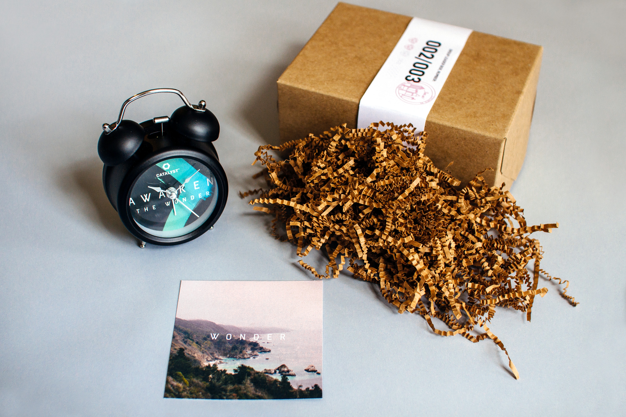 Box two of three in the progressive direct mail campaign to influencers and group leaders contained a custom alarm clock and a small card about Wonder, further revealing the conference theme in preparation.