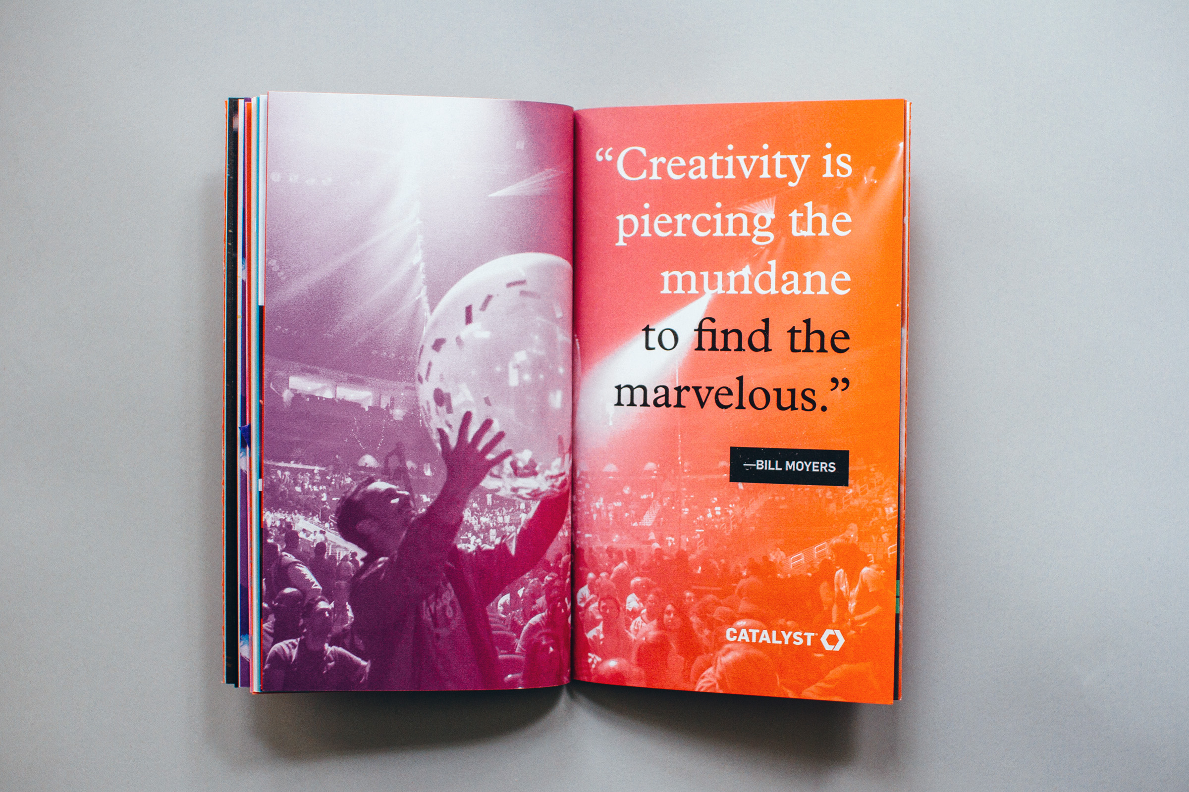 """Editorial full spread quote design, """"Creativity is piercing the mundane to find the marvelous"""" overlays a gradient mapped photo from a past conference."""