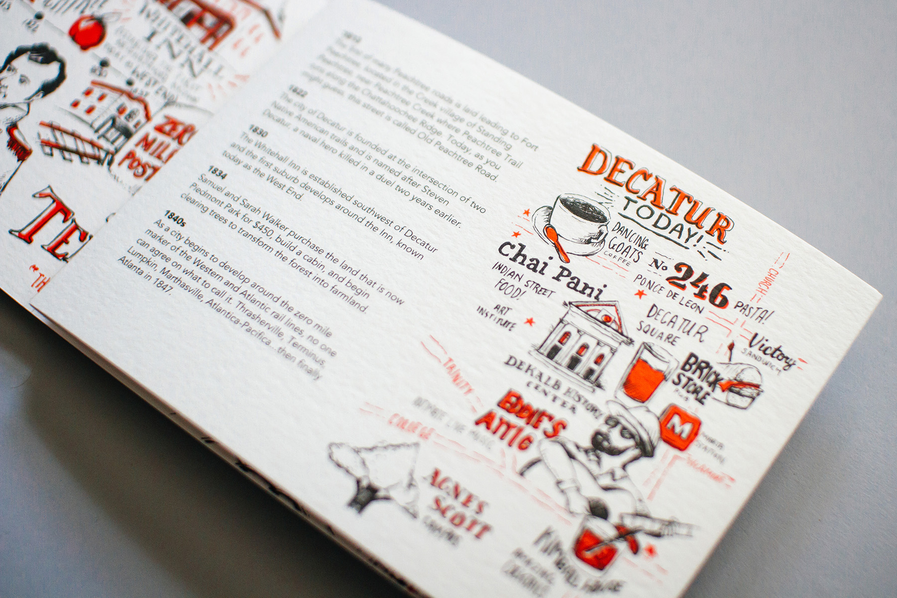 First illustrated timeline panel reveal, with Decatur Today neighborhood city map, hand drawn and illustrated for Neenah Paper.