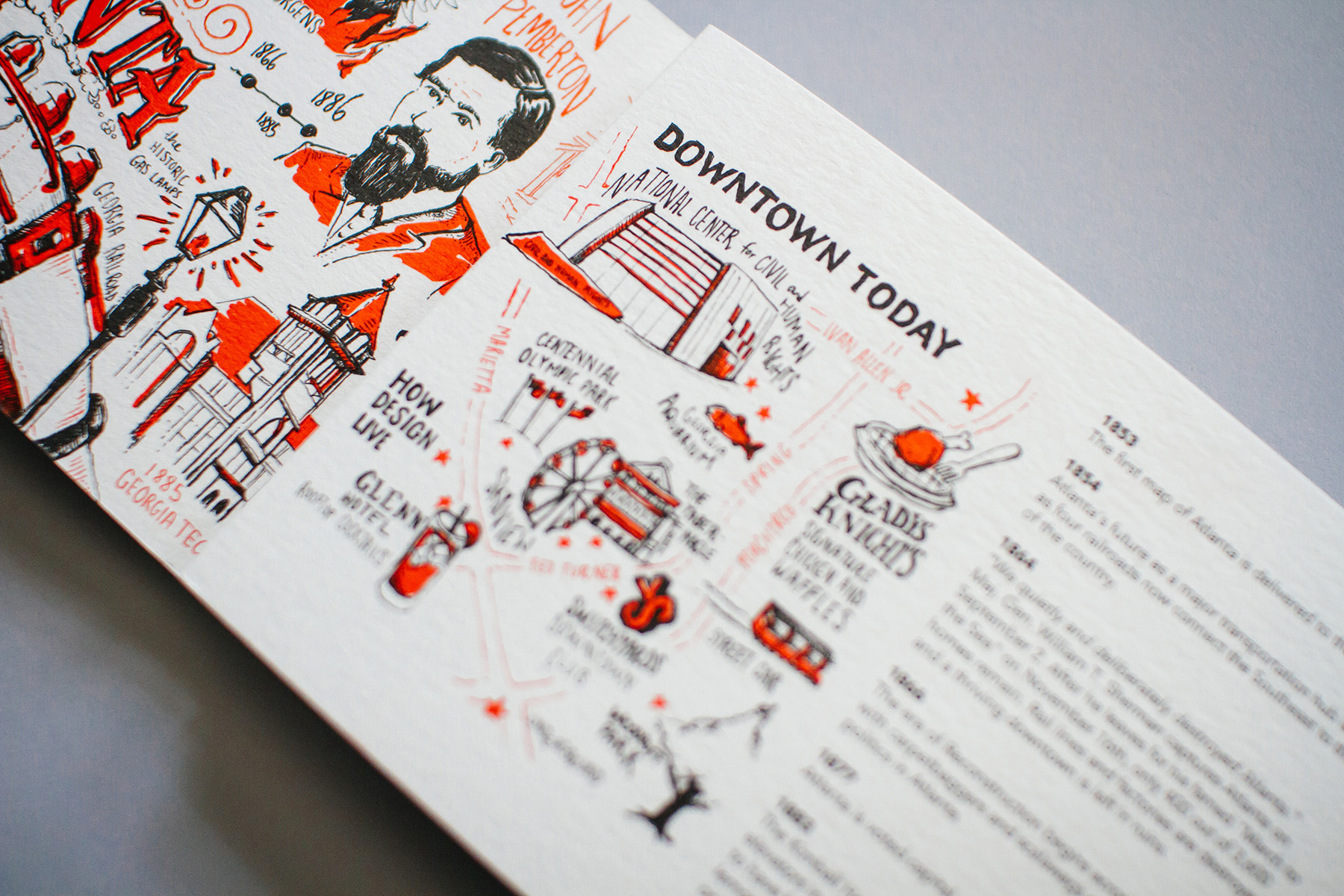 Illustrated and Hand Lettering for Downtown Today Atlanta neighborhood map. Features Center for Civil and Human Rights, Gladis Knight's chicken and waffles, Switchyards, the tabernacle and the street car.