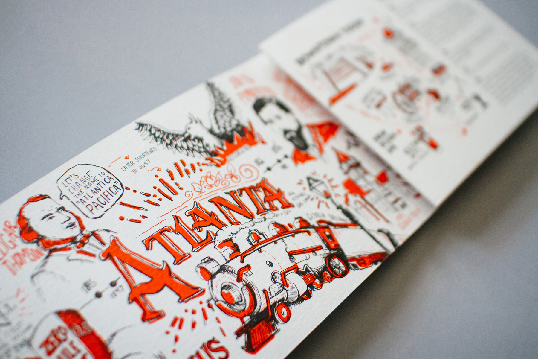 Detail of the illustrated history of Atlanta, a timeline hand drawn for Neenah Paper at HOW Design Live 2016.