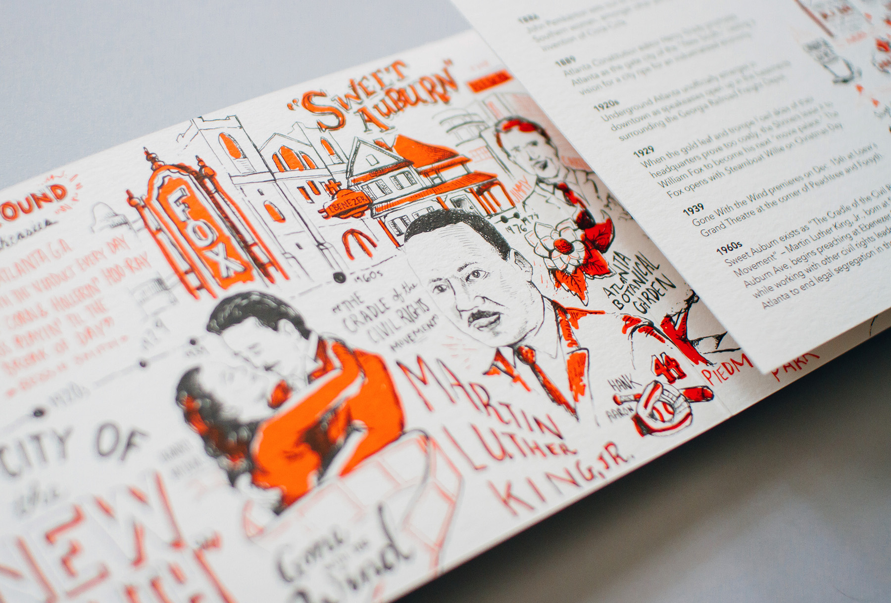 Shown: Martin Luther King Jr., the Fox Theatre and Sweet Auburn.Detail of the Neenah Paper illustrated historical timeline for the city of Atlanta printed promotional marketing design. Hand lettered and hand drawn illustrations by Russell Shaw.