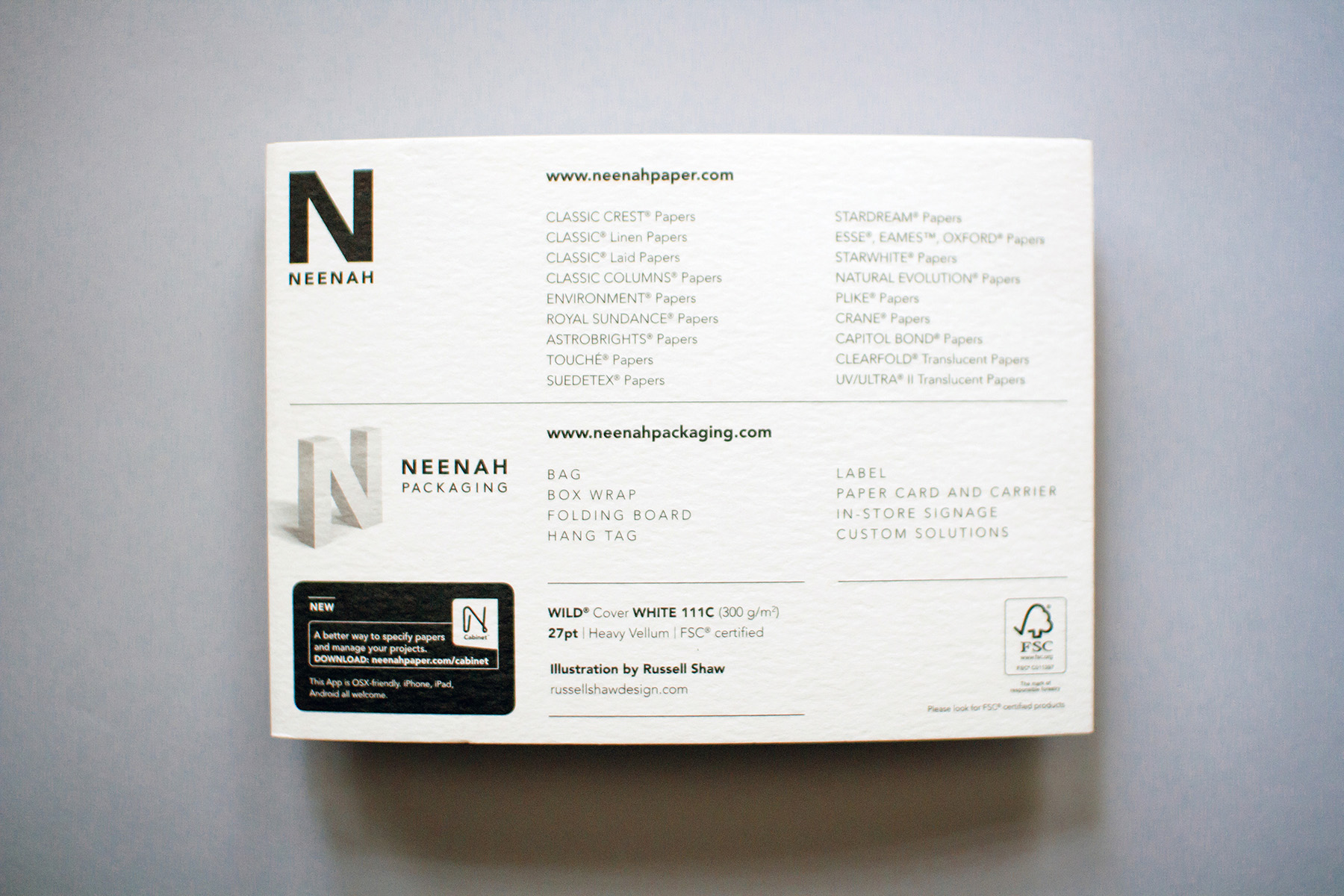 back of Neenah Paper Atlanta print design