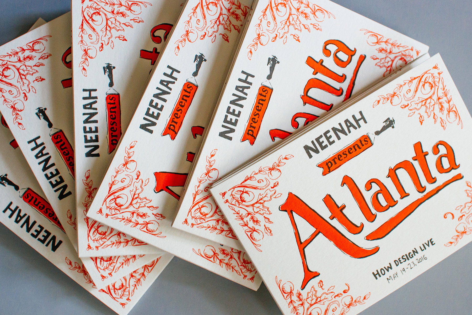 Scattered cover designs of Neenah presents Atlanta for HOW Design Live 2016, hand drawn illustration and handlettering for historical timeline and neighborhood maps of the city. Artwork by freelance designer Russell Shaw.