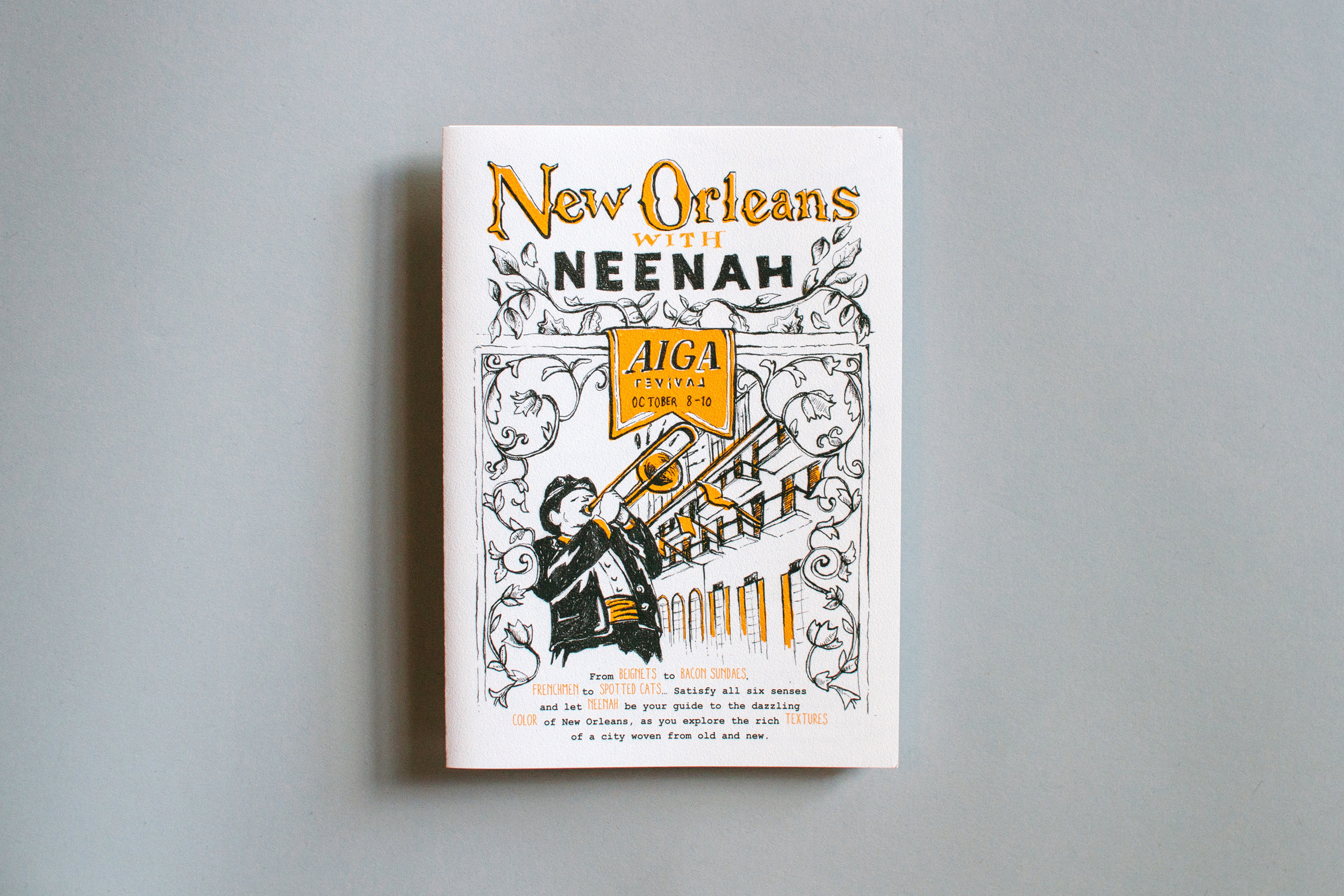 Cover illustration and design of New Orleans with Neenah, for Neenah Paper at the AIGA Conference 2015.