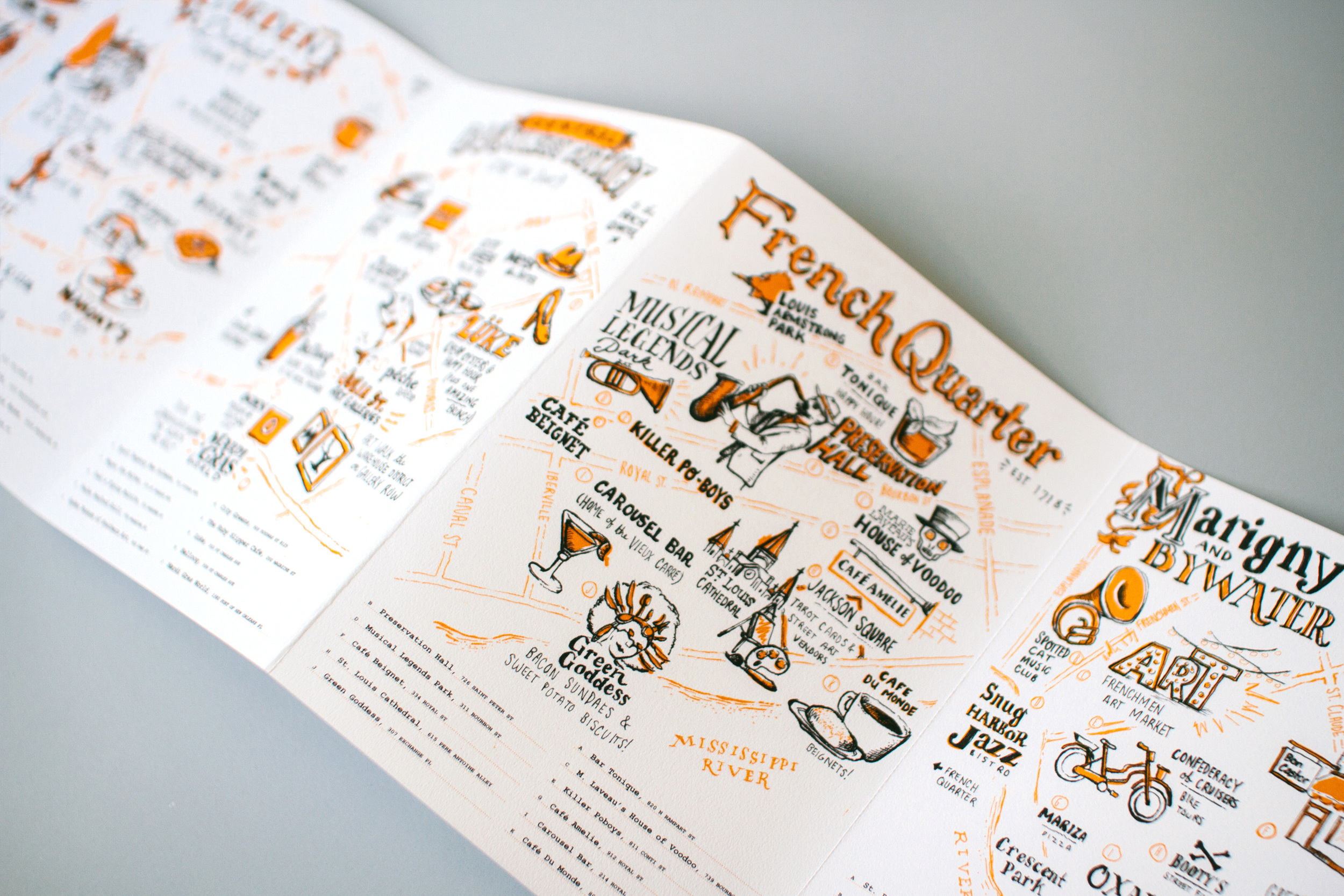 All of the New Orleans illustrated maps revealed with a Focus on the French Quarter neighborhood guide.