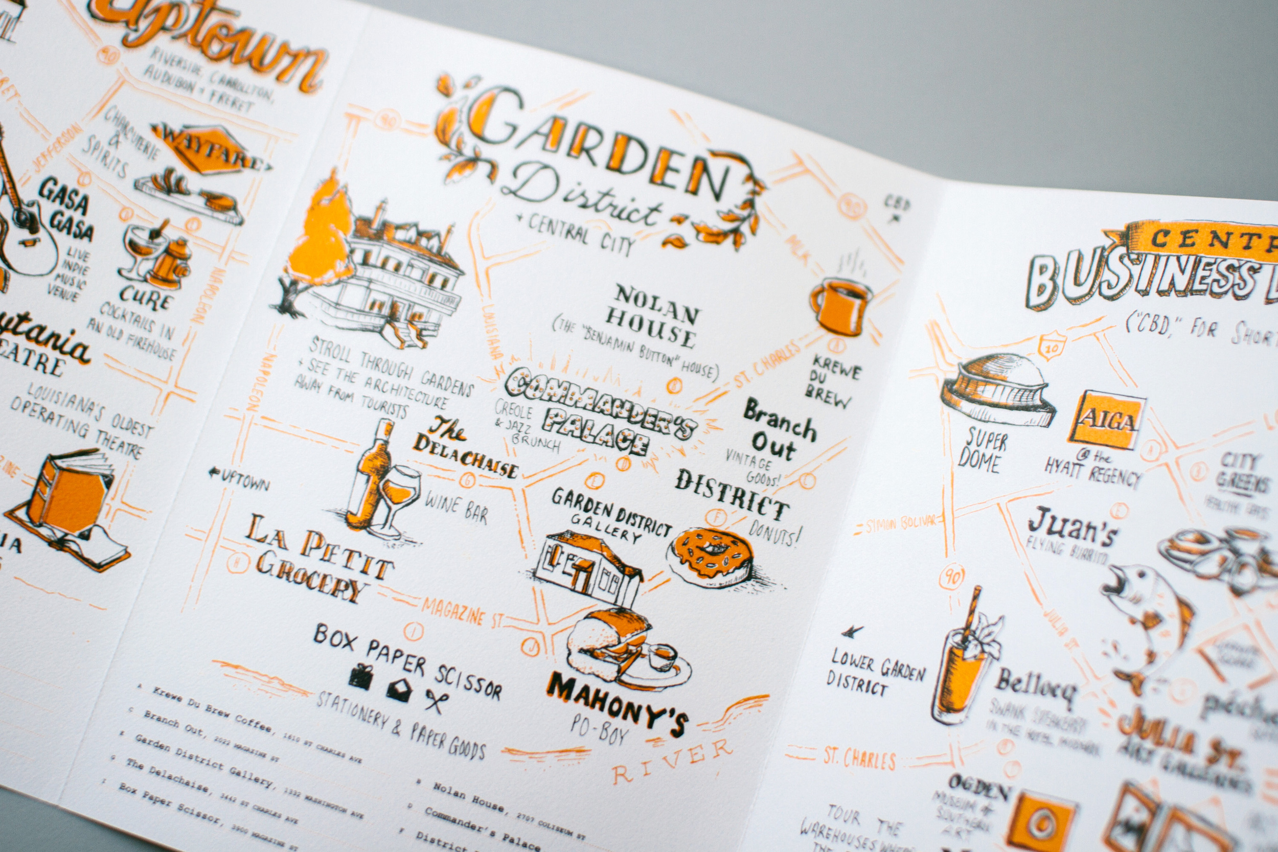 Up close detail of the Garden District illustrated map