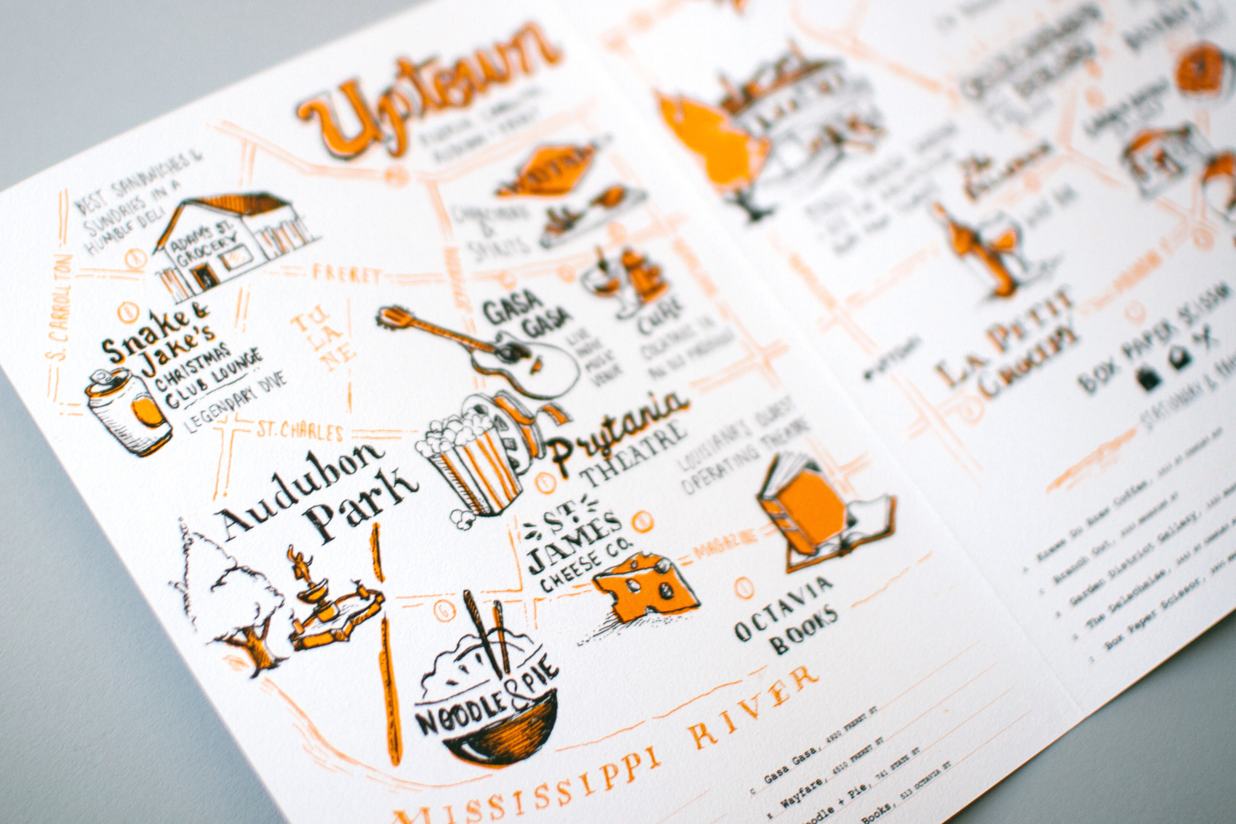 Up close detail of the Uptown illustrated map