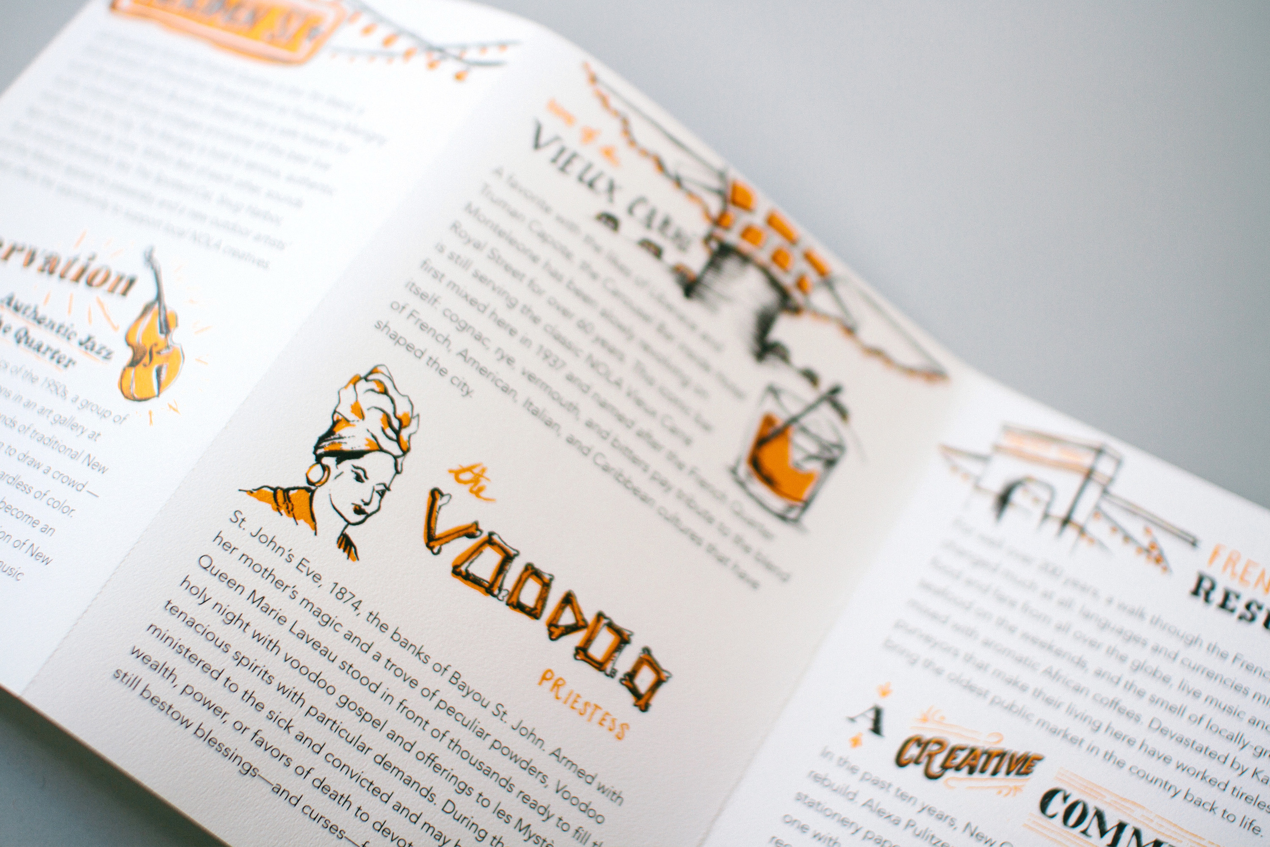 The Voodoo Priestess, hand lettering and hand drawn type with an illustrated portrait of Marie Laveau and biography. The backs of each map also featured fun facts and historical and cultural information about New Orleans.
