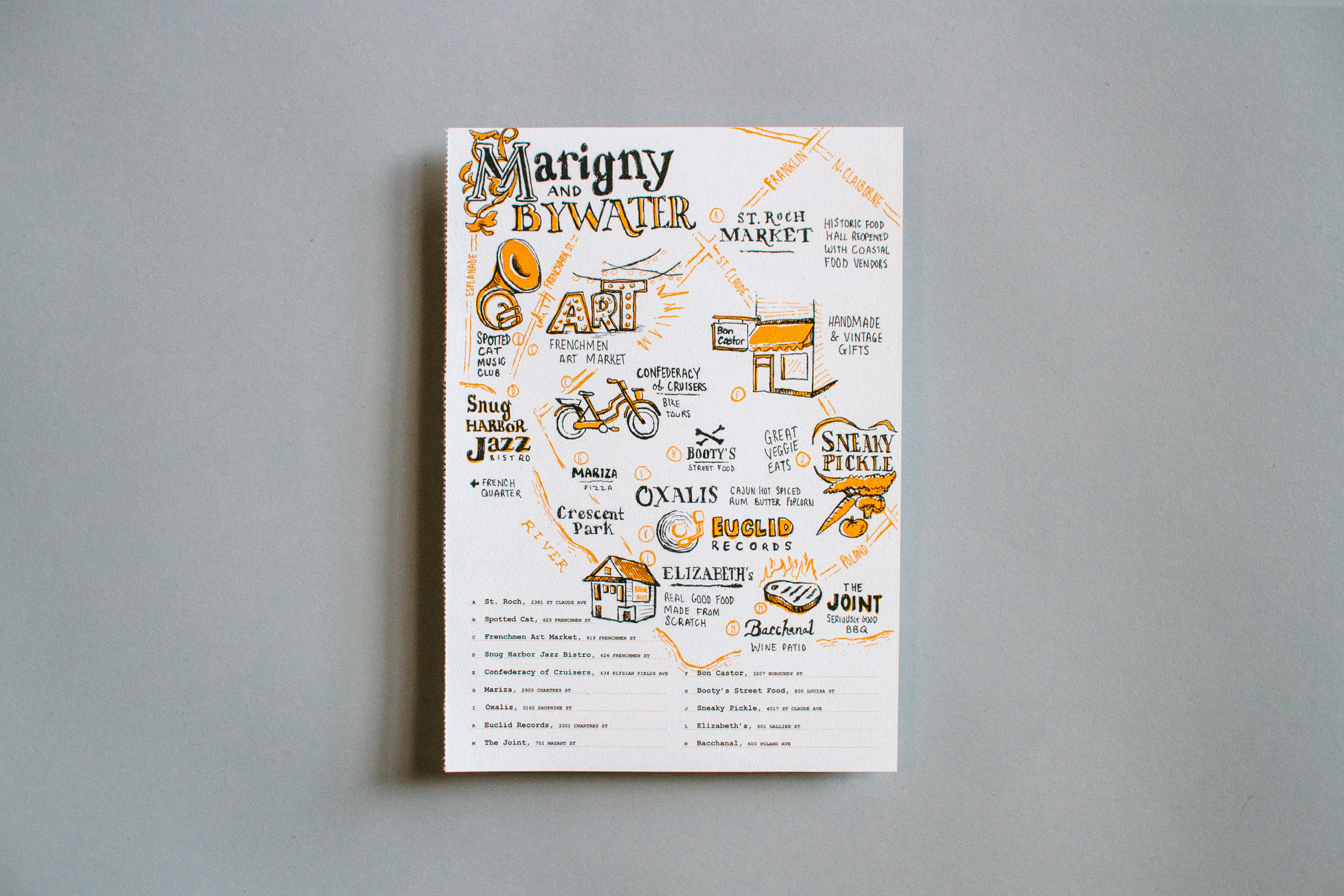 Illustrated Marigny and Bywater neighborhood maps and city guides to New Orleans, featuring St. Roch Market, Frenchmen Art Market, Spotted Cat, Snug Harbor, Oxalis, Crescent Park, Euclid Records, the Joint, Elizabeth's.